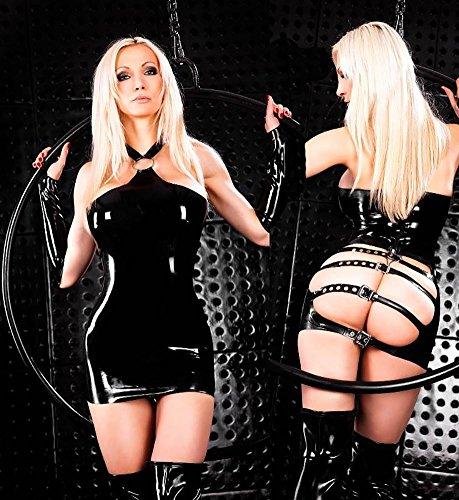 NEIYI Frauen Sexy Leder Dessous Kostüm Catwoman Latex Catsuit PVC Body Overall Kleid Clubwear, M