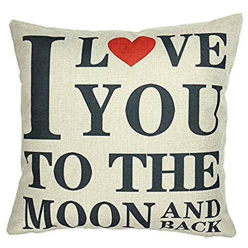 Luxbon I Love You to The Moon and Back Dauerhaft Leinen Kissenbezug mit Reißverschluss Sofa Büro Dekokissen 45×45 cm