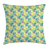tgyew Floral Throw Pillow Cushion Cover, Scribbed And Sketched Design of Five Petal Spring Summer Flowers, Decorative Square Accent Pillow Case, 18 X 18 Inches, Apple Green Turquoise Violet