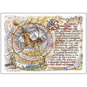 Geschenk Sternzeichen Schütze Gedicht Spruch Zeichnung Color 20 x 15 cm