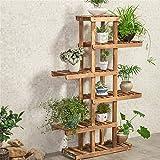 FFF-Shelf Stand di fiori in legno massello multistrato balcone soggiorno interno atterraggio carnoso verde bonsai pianta creativa stand (Colore : A)