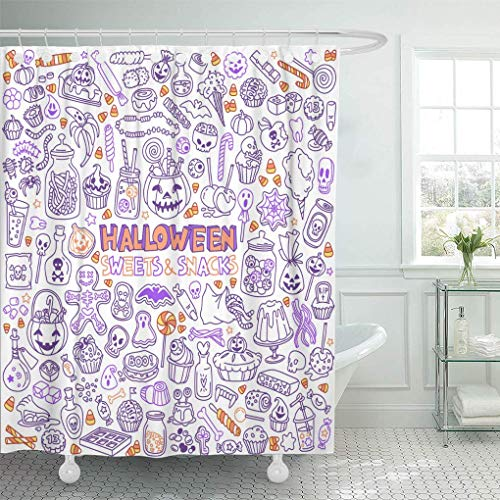 (HOJJP Duschvorhang Candy Halloween Candies Sweets Snacks and Drinks for Trick Shower Curtains Sets with Hooks 60 x 72 Inches Waterproof Polyester Fabric)
