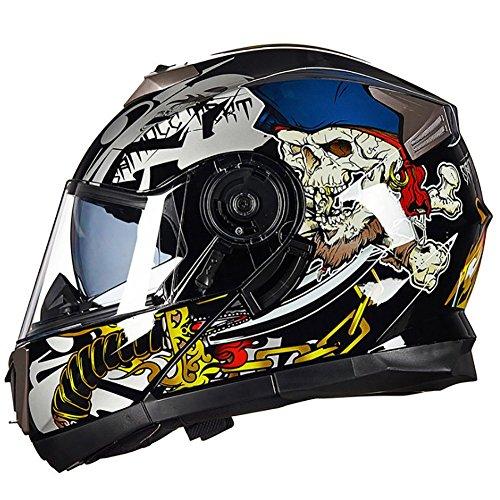 Full Face Helm Vier Jahreszeiten Dual Lens Motorrad Racing Helm,A,L