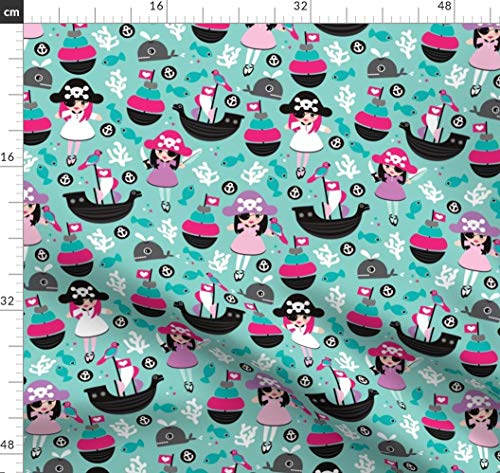 Pirat, Wal, Marine, Fisch, Kinderzimmer, Illustration Stoffe - Individuell Bedruckt von Spoonflower - Design von Littlesmilemakers Gedruckt auf Baumwoll Spandex Jersey -