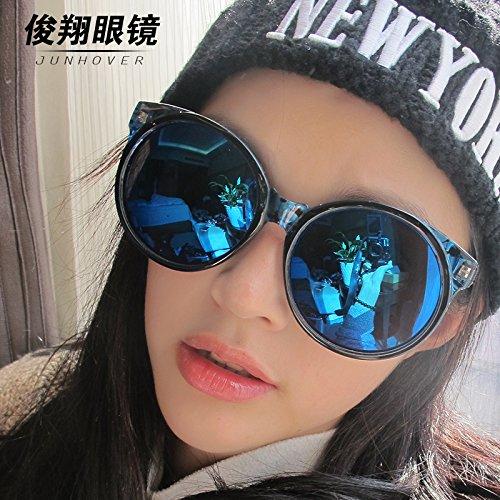 , der neue star der frauen flut retro - personalisierte sonnenbrille, männliche koreanischen version, große, runde brille, frame, farbfilm,grüne leopard aqua - tabletten (ohne brille box gesamtpaket)