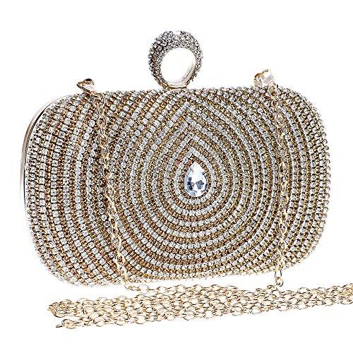 Damen Clutch Abendtasche Handtasche Geldbörse Glitzertasche Strass Kristall Jahrgang Tasche mit wechselbare Trageketten von Santimon Gold