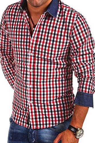 Carisma Karo Hemd mit Jeans-Einsatz 8175k Schwarz/Rot
