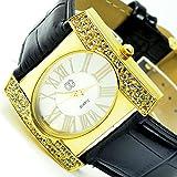 Superbe élégant montre bracelet femme en or noir avec strass AL 513