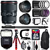 TriStateCamera Canon Ef 16-35mm F/4l Is USM Lens 9518b002 + Canon Speedlite 430ex Iii-Rt + 0.43x Wide Angle Lens + 2.2X Telephoto Lens + Led Kit + Stabilizing Handle + Uv-Cpl-FLD Filters -