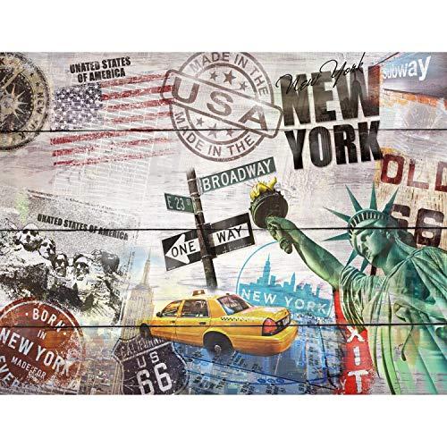Tapeten Fototapeten Holzoptik New York - Vlies Wand Tapete Wohnzimmer Schlafzimmer Büro Flur Dekoration Wandbilder XXL Moderne Wanddeko - 100% MADE IN GERMANY - 9369010a