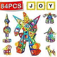 Magnetische Bausteine, 84 Stück Satz Konstruktionsbausteine Spielbausteine für Kleinkinder und Eltern, 48 Magnetische Bausteine + 38 Nicht Magnetisch Zubehör