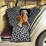 Funda para asiento de perro, funda para asiento de coche para perros, resistente e impermeable, lavable a máquina, hamaca de viaje para perro con cinturón de seguridad, tamaño universal para todos los coches, camiones, SUV (negro)
