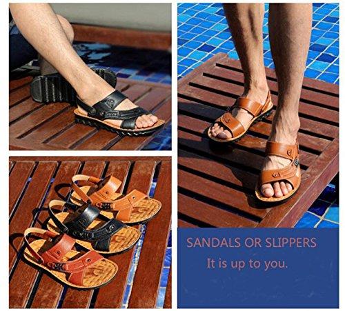 Beauqueen Mittleren Alters Gesunde Outdoor Dual-Gebrauch Leder Hausschuhe Sandalen Open Toe Beach Breathable Casual Sandalen 38-44 light brown