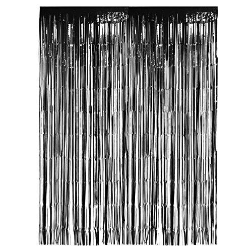 Sumind 2 Stück Metallfolie Vorhänge Schwarz Folien Fransen Glänzend Lametta Fransen Vorhang für Halloween Hochzeit Fotokulisse, (Türen Für Halloween Dekorieren)