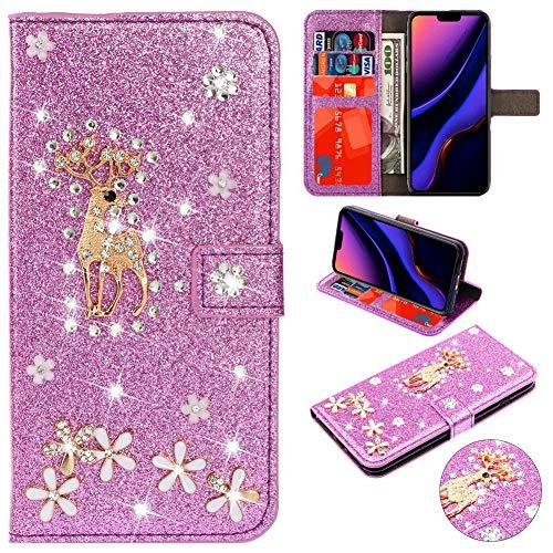 Kartenfach Magnetverschluss für Samsung A20e, Leder Diamant Funkeln Bling Glitzer BookStyle Slim Schutzhülle Folio Wallet Stand Card Slots Pocket