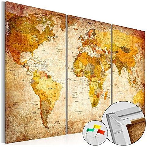 SENSATIONSPREIS ! Neuheit! Weltkarte mit Kork Rückwand 90x60 cm – Bild auf Vlies-Leinwand - 3 Teilig – Bilder - Leinwandbild Poster Pinnwand Kunstdruck Weltkarte Kontinent Welt Landkarte Karte k-B-0020-p-a 90x60 cm B&D XXL