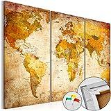Novedad! Tablero de corcho 90x60 cm � 3 Partes - Cuadro sobre corcho Mapamundi Mundo Continente k-B-0020-p-a 90x60 cm B&D XXL