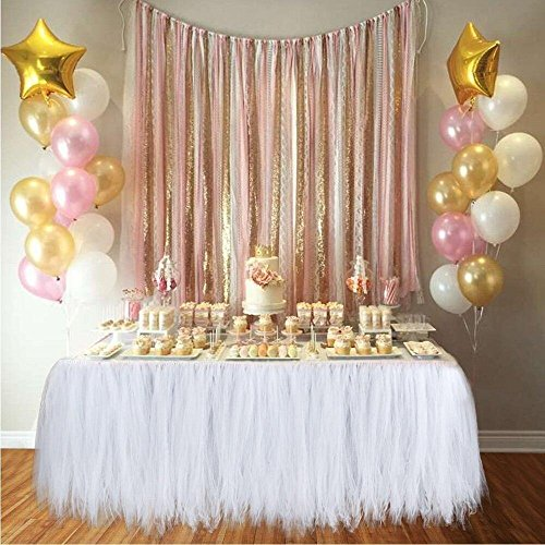 k Tischröcke Party Dekorationen Geeignet für Hochzeit Geburtstagsfeier Festivals Dekor Dekoration Baby Mädchen (Weiß) (Tüll-shop)