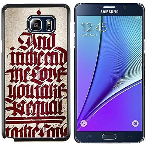 Copertura di plastica Shell Custodia protettiva || Samsung Galaxy Note 5 || bibbia testo calligrafia rosso citazione medievale @XPTECH - Copertura Bibbia Red