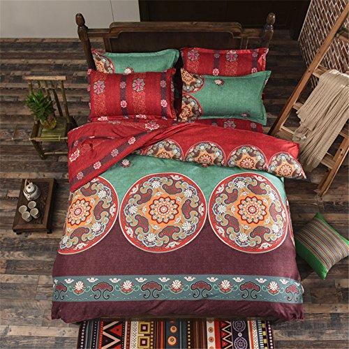 GAW Hogar Moda 100% algodón bohemio estilo nacional 4-piece Set de ropa de cama, edredón completo/Reina,Funda nórdica(180cm x 220cm*1),Hoja(230cm x 245cm*1),Funda de almohada(48*74cm*2)