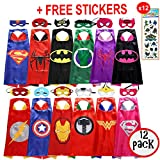 squishybean 12 Sets Kinder Cape und Masken Superman Spider-Man Batman Hulk/Spidergirl/Batgirl Flash Thor Captain America Iron Man Wonderwoman Supergirl Kostüme Super Hero Kleid bis Costumes Marvel Avengers Fancy Kleid