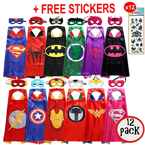 squishybean 12 Sets Kinder Cape und Masken Superman Spider-Man Batman Hulk/Spidergirl/Batgirl Flash Thor Captain America Iron Man Wonderwoman Supergirl Kostüme Super Hero Kleid bis Costumes Marvel Avengers Fancy ()