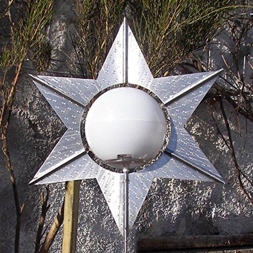 """Designer Solarlampe \""""Lichtblüte Stern\"""" mit weißer Kugel"""