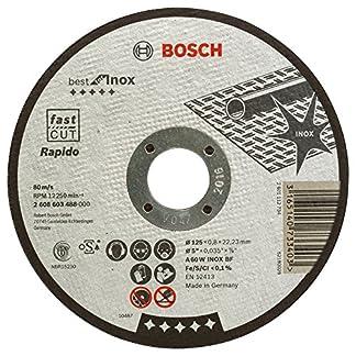 Bosch 2 608 603 488 – Disco de corte recto Best for Inox (A 60 W INOX BF, 125 mm), 0,8 mm)