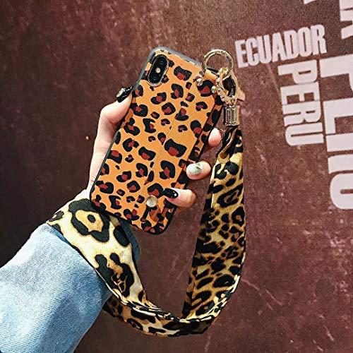 Leopard Lanyard X XS Max Silikon Xr Tide Marke 7 Plus All-Inclusive Soft Shell 8 Tropfen 6 Plus Armband 6 S Kreative Weibliche Modelle 8 Plus Schutzhülle, X Leopard - Drucken Br ()