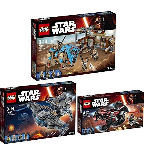 Lego Star Wars Set en 3 parties 75145 75147 75148 Le Vaisseau Eclipse + Le Chasseur D'étoiles + Rencontre Sur Jakku
