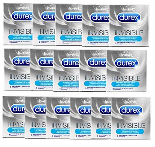 60 (20x3er) DUREX INVISIBLE Ultra dünne Kondome extra sensitive Präservative !