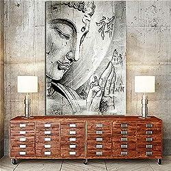 RuYun Bouddha Peinture sur Toile Noir Et Blanc Portrait Zen Mur Art Photos pour Salon Décoration Murale Affiche Toile Print 50cm x75cm Pas de Cadre