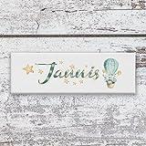 Leuchtbild mit Name Jannis - Türschild - Namensschild - Geschenk zur Taufe