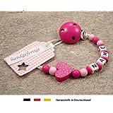 kleinerStorch Baby Schnullerkette mit Wunschnamen - Mädchen Motiv Herz pink