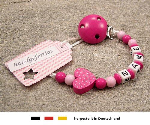 Preisvergleich Produktbild kleinerStorch kS-013-1 Baby Schnullerkette mit Namen - Schnullerhalter mit Wunschnamen - Mädchen Motiv Herz, pink
