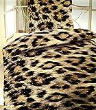Bertels Bettwäsche, Flausch Thermo fleece Leopard Tierfellmuster warm und kuschelig mit Reißverschluss, 135 x 200 cm, 2 teilig