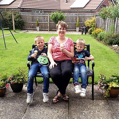 Lazy Susan – SANDRA Quadratischer Kaffeetisch mit 1 ROSE Gartenbank – Gartenmöbel Set aus Metall, Antik Bronze (Beiges Kissen) - 4