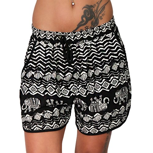 Damen Boardshorts Sommer Shorts Elefant Indisch leichte kurze Hose Blau  Strand 8000-2 (Schwarz, L XL 40 42) feef44e051