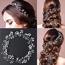 50cm Tocado Diadema para el Pelo de Novia Tiara Corona de Flores Mujer Adornos Accesorios para