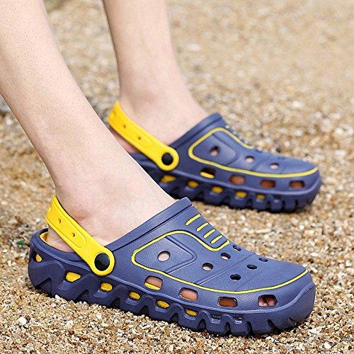 Xing Lin Chaussures DÉté Hommes Les Hommes DÉté À Double Usage Chaussons Demi-En-Tête Cool Remorque Trou Antidérapant Sandales Chaussures Sandales Casual Male Faites Glisser 699 blue