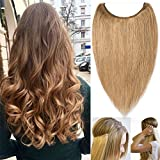 Extension Cheveux Naturel Fil Invisible Fils Transparent 100% Cheveux Humain Remy Hair Extensions Réglable Sans Clips #27 Blond foncé - 18'/45cm