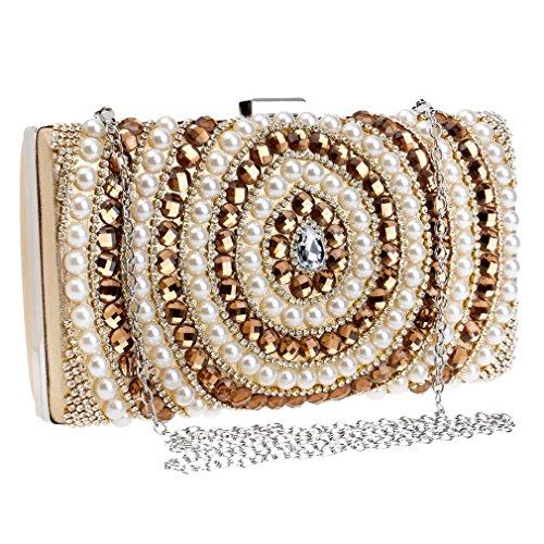 YAN Frauen Handtasche für Damen Woven Schulter Handtasche Messenger Geldbörse Taschen mit Abnehmbarer Kette für Hochzeit Familientreffen Prom Bankett Cocktail (Color : Gold) -