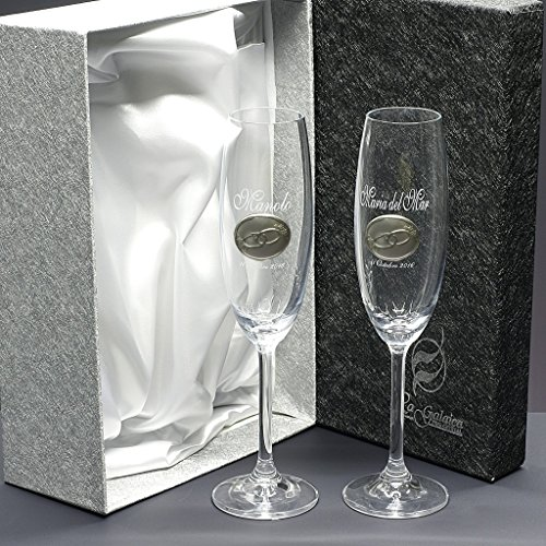 Set/Confezione 2 calici di champagne per gli sposi, nozze d'argento/oro, anniversari, collezione