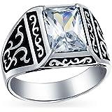 Emerald Cut Cubic Zirconia CZ Prong Set Viking Scroll Engagement Ring per uomo ossidato 925 argento fatto a mano in Turchia