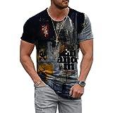 WINKEEY Homme T-Shirt Coloré Manche Courtes Motifs Multicolores Tee Shirt Été Fantaisie Mode