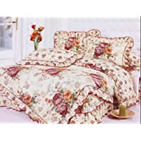 Gifty Cotton Double Luxurious Comforter and Queen Size Bedsheets with 2 Frill Pillow Covers