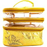 3 CompartmentTransparent Waterproof Plastic Travelling Kit/Multi Purpose Utility Kit/Cosmetic Bag/Jewellery Organiser...