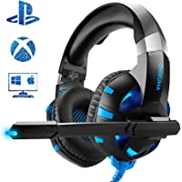 Casque Gaming PS4, ONIKUMA Anti Bruit Mic Casque Gamer Bleu LED Lampe pour PS4 Xbox One PC Mac Nintendo Switch Smartphone Laptop/Surround 7.1 virtuel/Arceau Réglable/Drivers de 50mm
