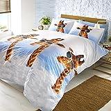 Image of #Ropa de cama para cama doble Jeffrey de funda de edredón juego de funda diseño de estampado de jirafa