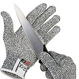 Schnittschutzhandschuhe Lebensmittelqualität Level 5 Schutz, Sicherheit Küchenschnitte Handschuhe für Austernschälen, Fischfilet-Verarbeitung, Mandolenschneiden, Fleischschneiden und Holzschnitzen M